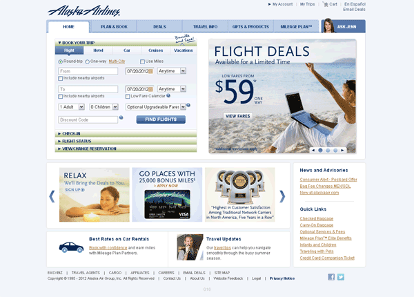 Alaska Airlines Old Website